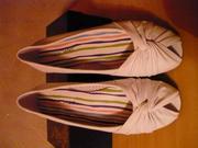 Туфли-балетки,  нат.кожа,  р-р 38-39,  цв. белый.